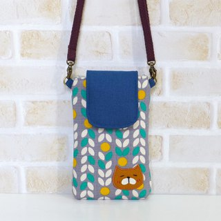 丫喵Mobile phone bag - leaves (with strap)