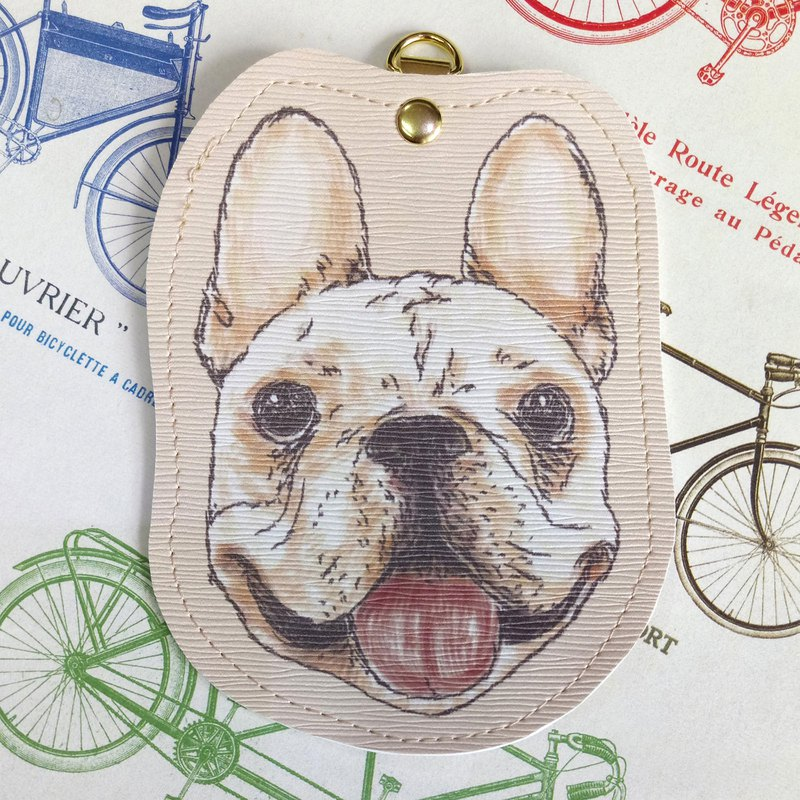 Law fight - imitation leather card set (gift neck rope) - dog sketch series ~ dog head shape