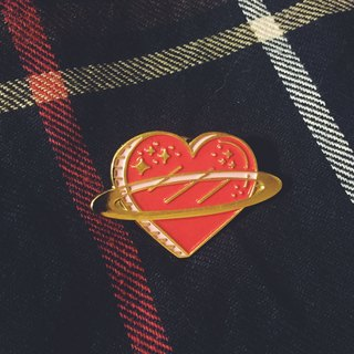#20 Red Heart Planet Pin/Brooch