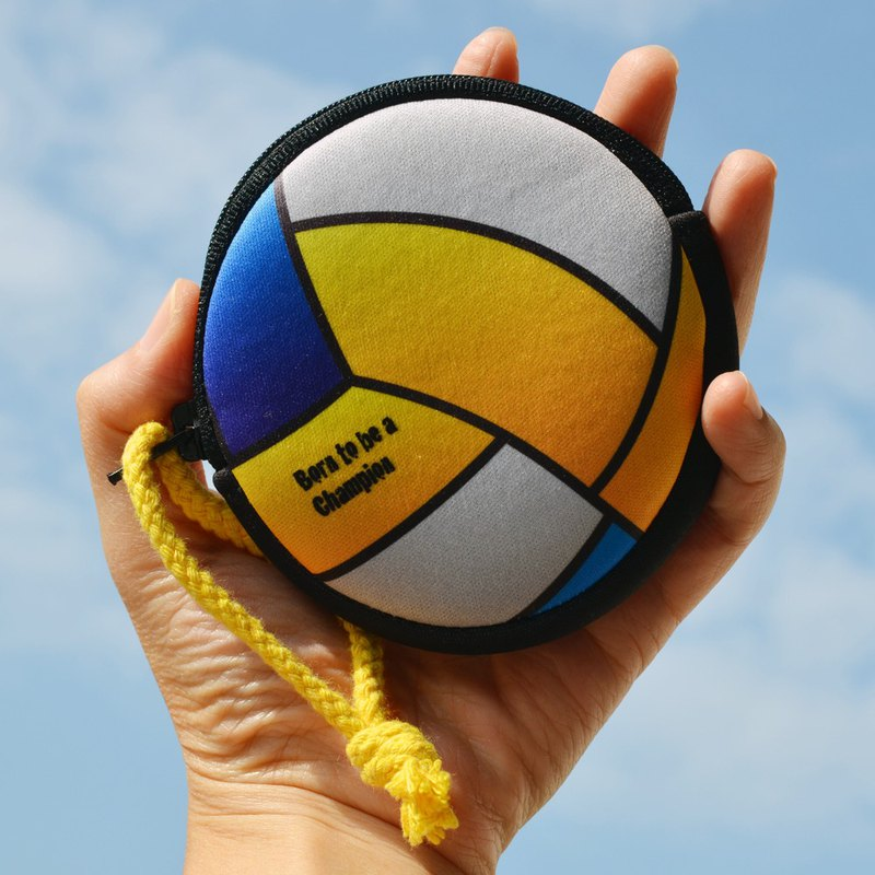 Volleyball coin purse headset storage