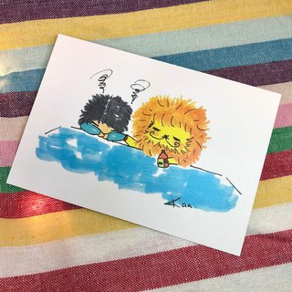 KaaLeo - Pat the shoulder to cheer 喔 postcard Lion Lion