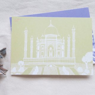Travel Scenery India - Taj Mahal / Illustration Postcard