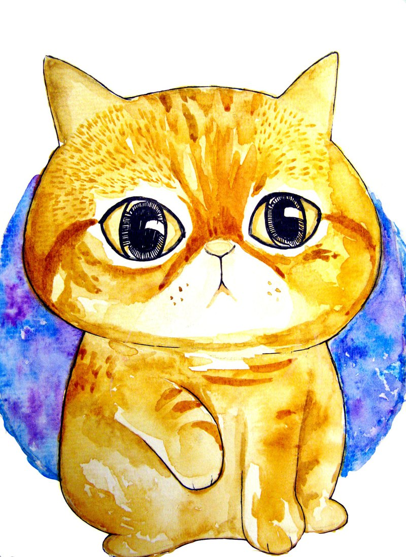 Watercolor pet/cat and dog painting custom
