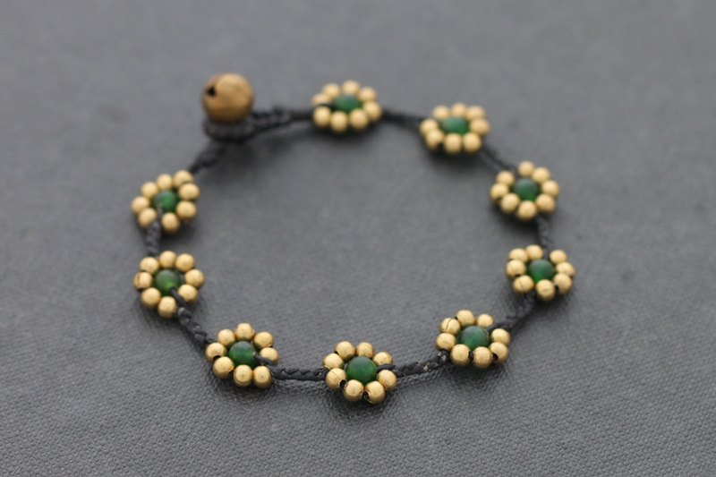 Daisy Dark Green Jade Braided Bracelets Woven Stone Brass