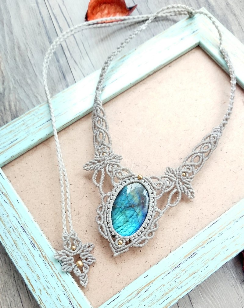 Misssheep N45-Labradorite Macrame Necklace, Bohemian jewelry