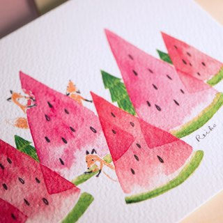 Fox watermelon mountain │ postcard