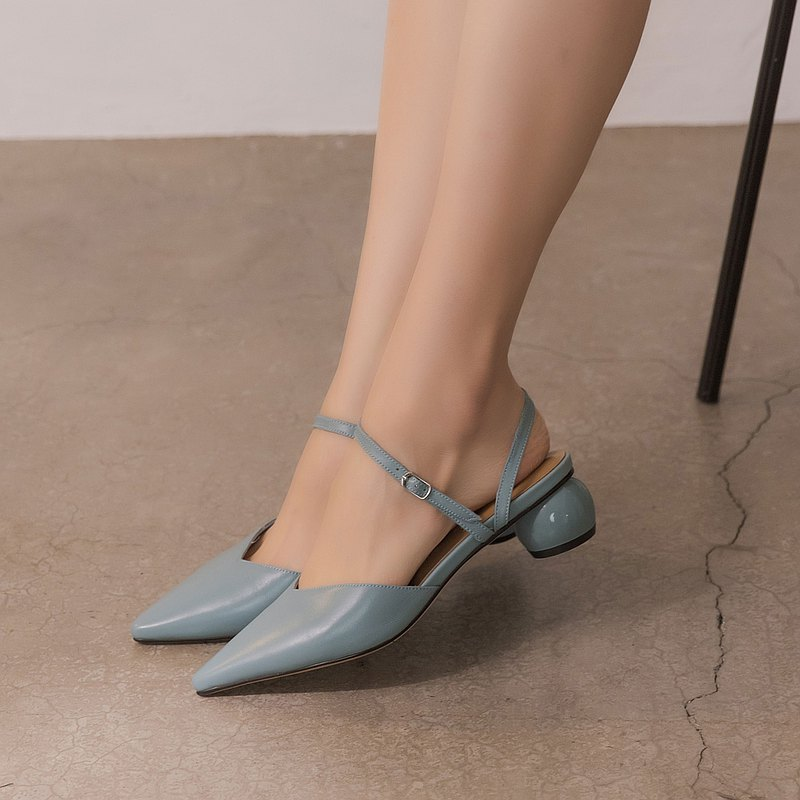 Chubby round heel pointed mid-heel sandals blue