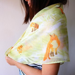 Playful fox scarf. Silk chiffon scarf. Orange fox& Yellow green grass .Summer/Spring scarf.Soft & lightweight.For your special one.