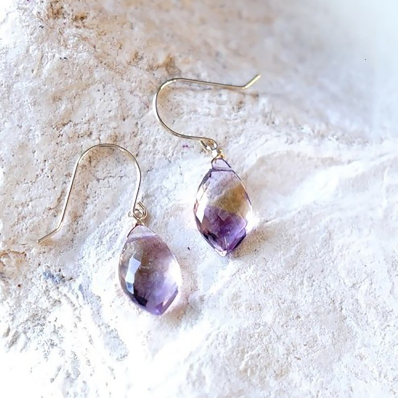 K18 High Quality Ametrine Earrings Natural Stone