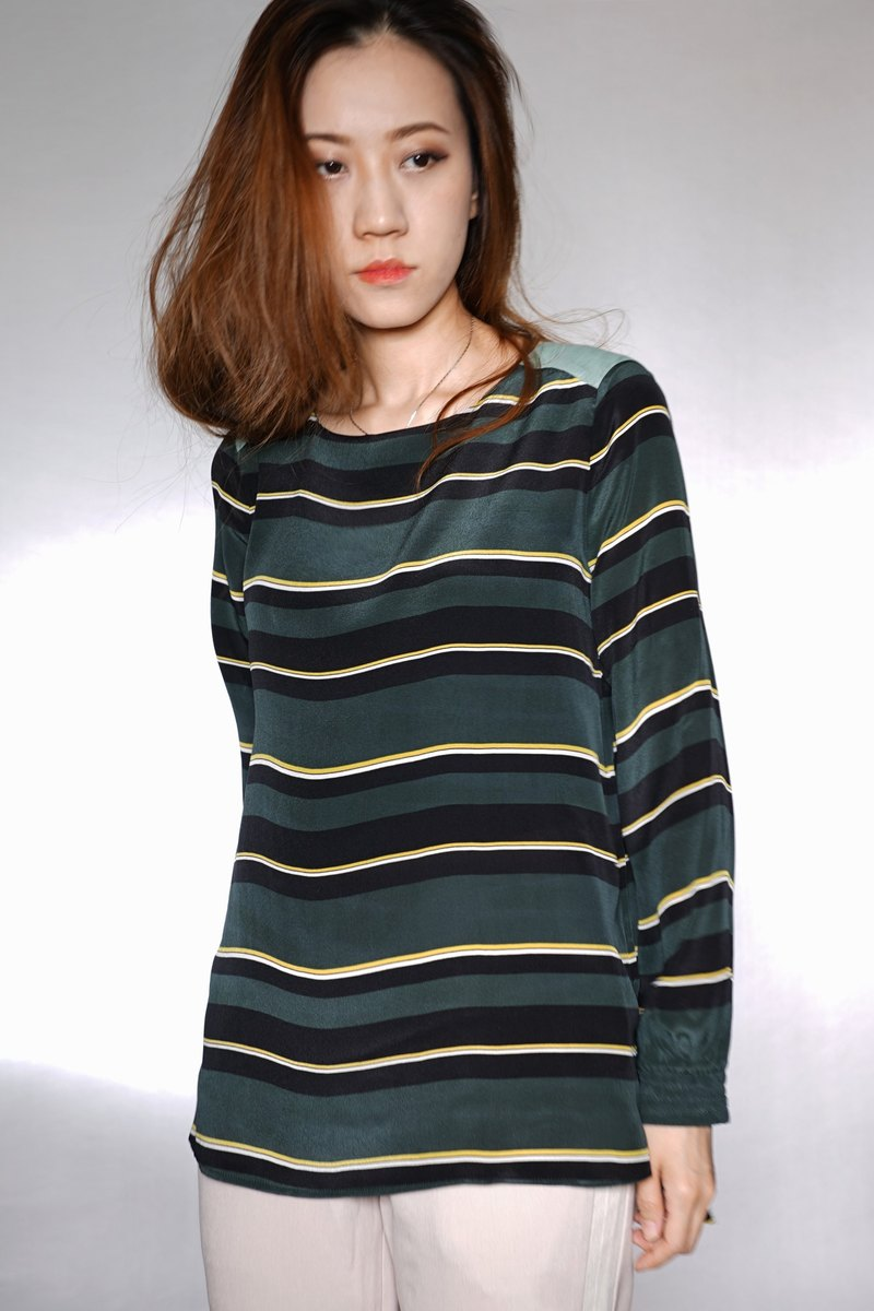 OUD Original. Striped Panel Silk Top. XS-XXL/ Customized Size.