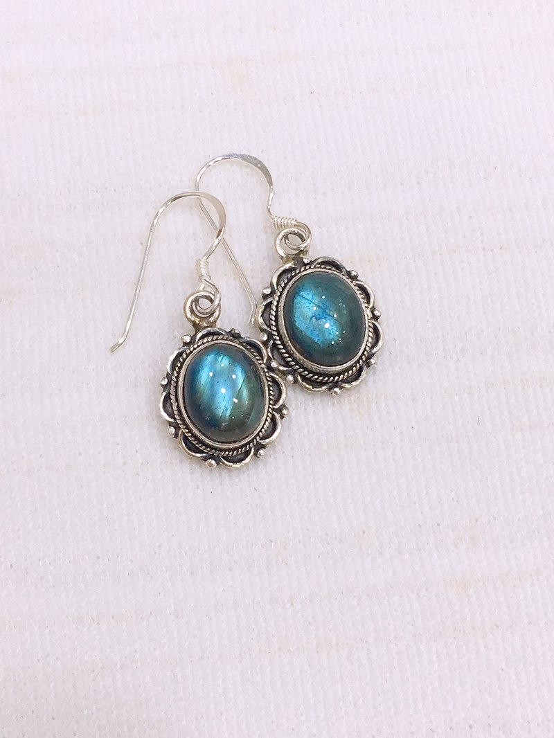 Nepalese Labradorite Earrings Handmade in Sterling Silver