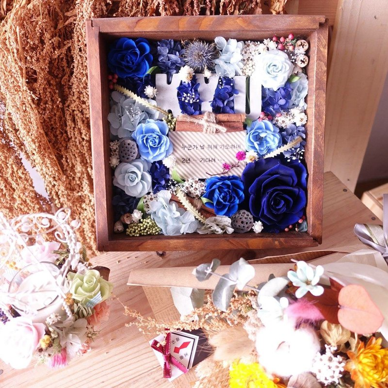 [Solid wood glass flower box] marriage proposal / opening / birthday / gift / home / not withered / dry flowers