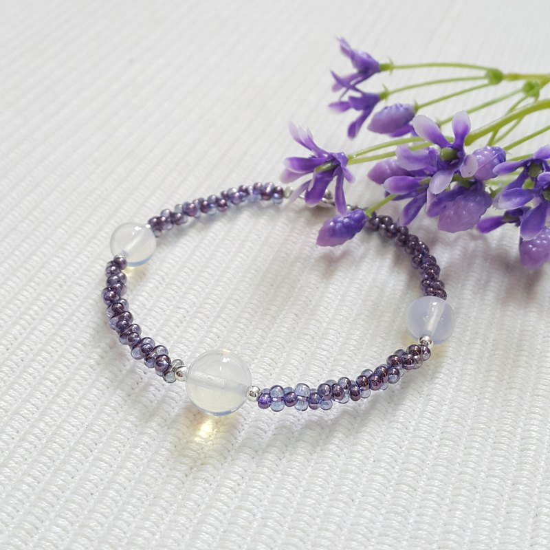 Purple Glass with Moonstone Bracelet
