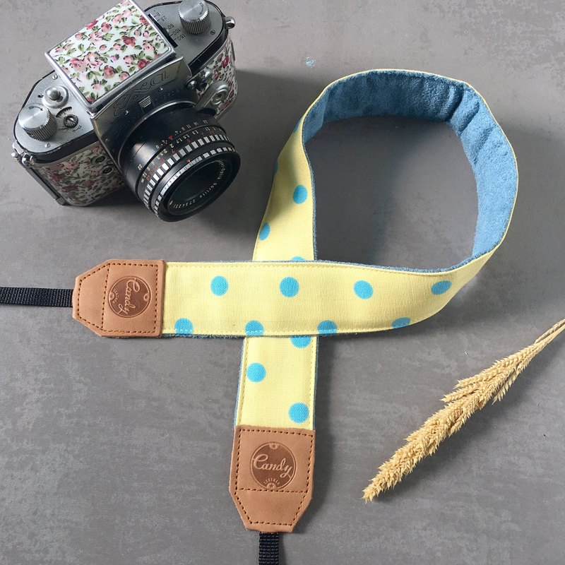 Yellow Blue Polkadot Mirrorless or DSLR Camera Strap