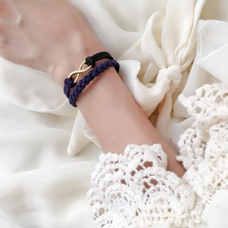 Handmade Double Braided Infinity Bracelets Rose Gold Series–dark blue