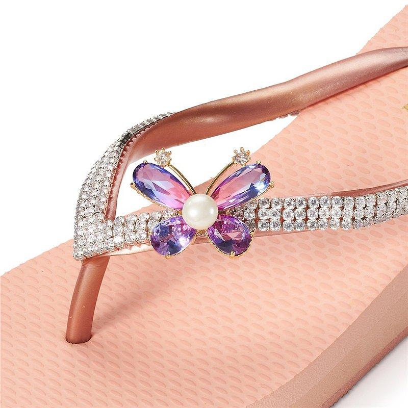女款6cm厚底夾腳拖鞋-頂級首飾工藝水鑽-紫彩蝴蝶珍珠 粉金