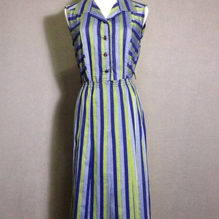 Ping-pong vintage [vintage dress / stripe cotton sleeveless dress Long vintage] abroad back VINTAGE