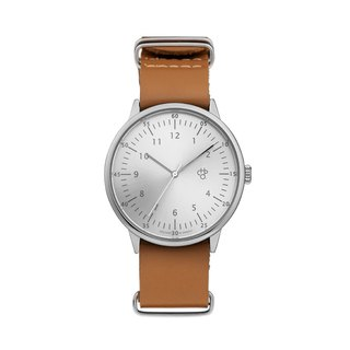 Chpo Brand Swedish Brand - Harold Series Silver Dial Brown Military Leather Watch