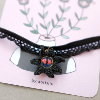by.dorisliu [Hand-embroidered choker clavicle chain] a kingdom of the eyes of black flowers