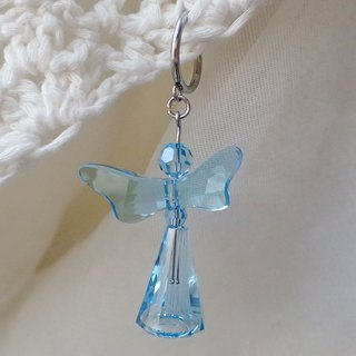 Happy aqua angel, One Stainless Steel earring with SWAROVSKI ELEMENTS