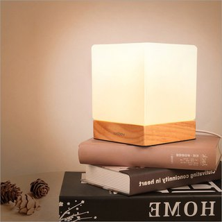 Nordic simple solid wood sugar cubes LED night light bedside table lamp USB charging