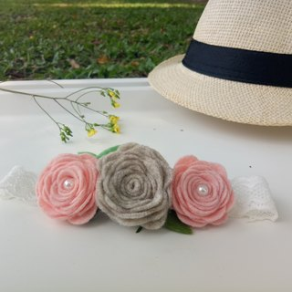 【Pink Rose and Light Gray】 Felt Elastic Stretch Hairband Infant Full Moon Photograph Photograph Parents