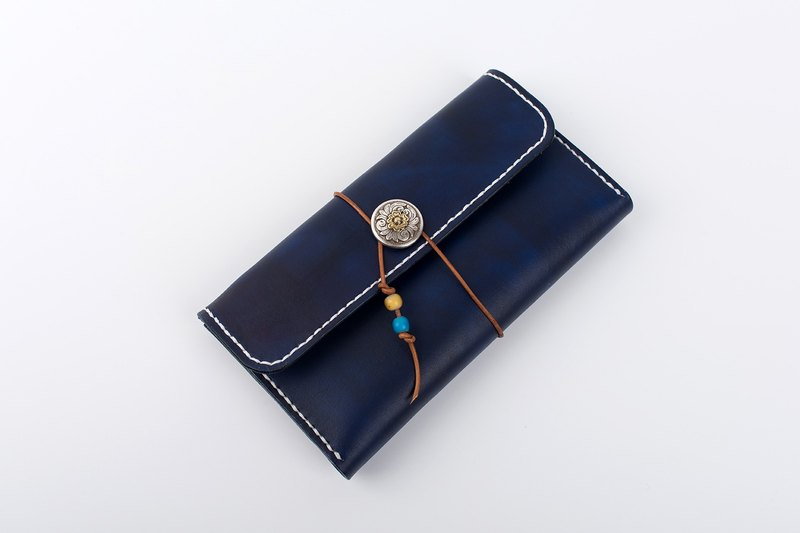 [Tangentialism] Handmade leather around the rope Tang three fold long retro wallet Clutch Unisex