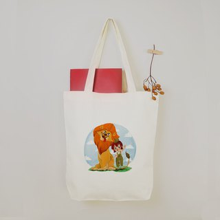 [Animal Planet] Naughty girl with lion canvas tote bag