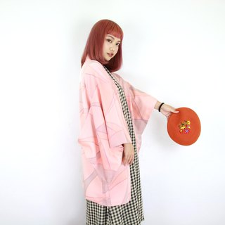 Back to Green-Japan with back feather kimono pink combination color block / vintage kimono