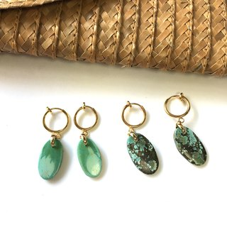 Tibetan Turquoise  Clip-earring  surgical steel