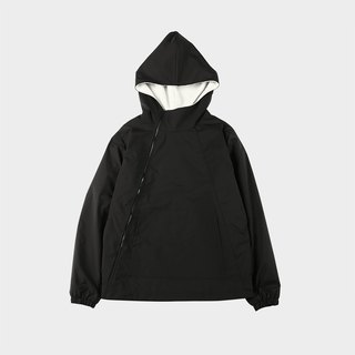 A fleece hooded windbreaker with a diagonal zipper