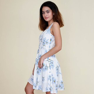 Flores Button-up Dress : Blue