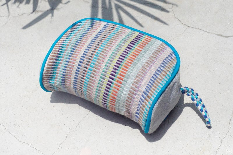 Valentine's Day gift handmade Patchwork Long pack / ethnic bag / camera bag / cosmetic bag / cell phone bag / travel bag - blue sky colorful rainbow stripes