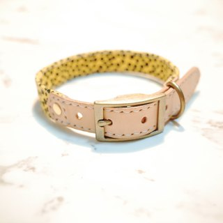 Dog collar M number leopard yellow small floral leopard pattern can be pulled on the leash can add tag