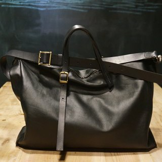 Hand-stitched large leather bag