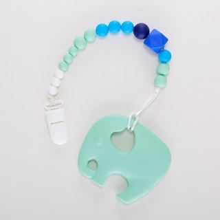 Hand made blue powder green elephant bite pacifier chain / Moon gift birthday gift Christmas gift