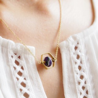 Geometric alloy hexagonal frame · Purple striped stone · Gold-plated necklace (40cm / 45cm)