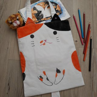Hand-painted cat A4 tote bag / shoulder bag - three cats