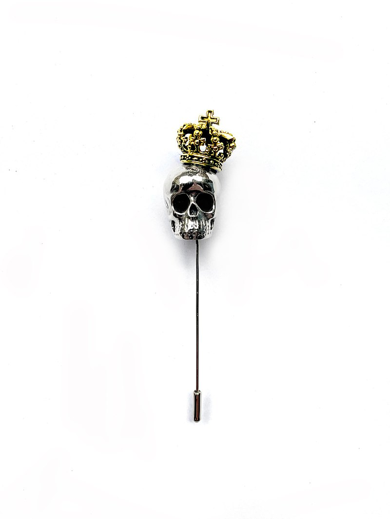 Skull with thorn crown  Lapel Pin in White Bronze