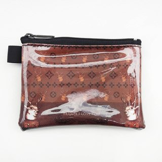 | I AM PARTY | handmade canvas leather purse - LV deer [Maijiu brand badges affixed or travel card x1]