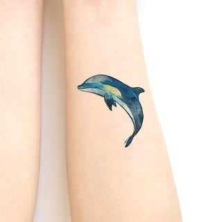 Dolphine sticker tattoos. Watercolor painting style.