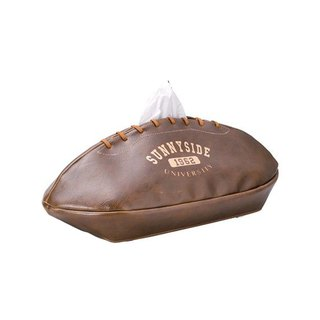 Japan Magnets rugby simulation leather paper cover / face paper box (deep coffee) - spot