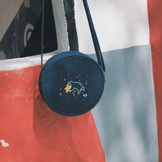 Star Flying Plan Embroidery Small Round Bag