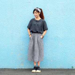 Maverick Village cotton and linen wild stripes [straight horizontal long skirt] gray blue J-37