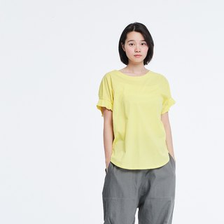 Mercerized Cotton Fabric Gathering Short Sleeves T-shirt Top Yellow