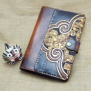 Leather note, hand book, book cover, Ruyi Yunlong