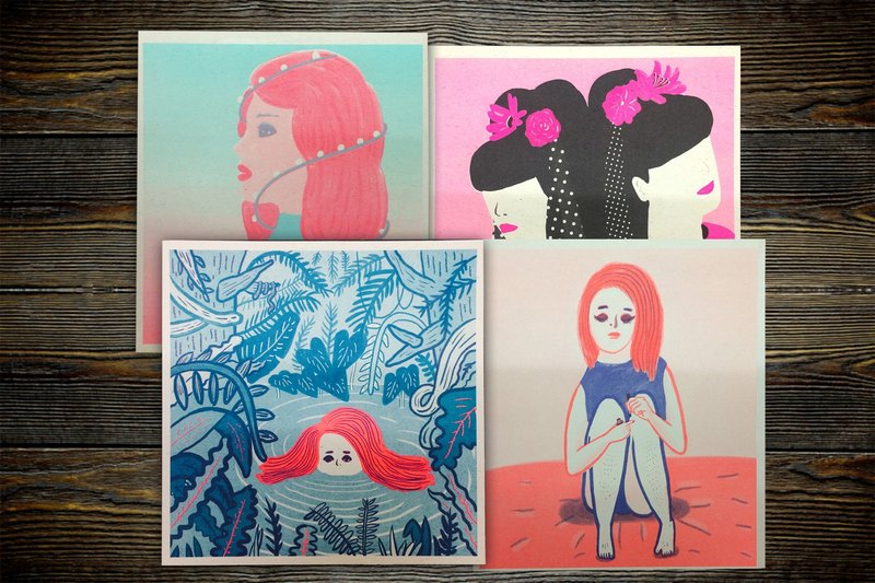 Risograph Girl Little Poster Hentian Print Jungle Pink Christmas