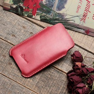 Minimal classical red dip dyeing yak leather handmade iPhone case / bare machine / limited edition