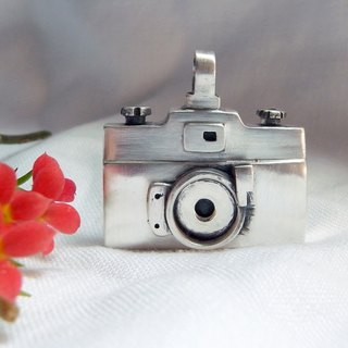 Silver Camera--A Memory Box--Silver Bird--Pendant Necklace with Wax Rope
