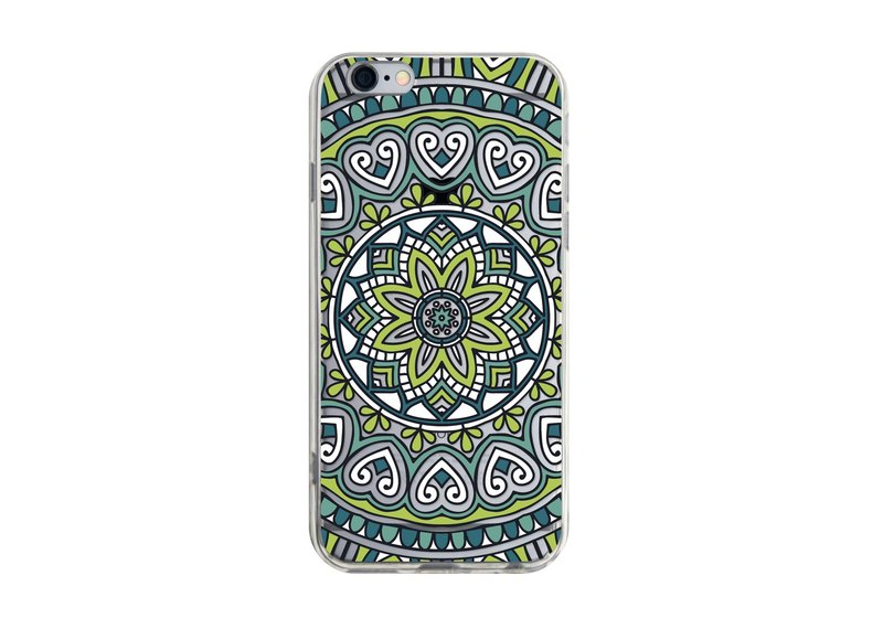 Mysterious green kaleidoscope illustration transparent phone case for iPhone